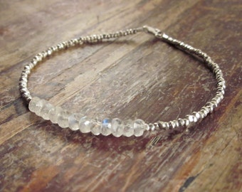 Rainbow Moonstone Bracelet June Birthstone Bracelet Moonstone Beaded Bracelets Bead Bracelet Rainbow Moonstone Jewelry Womens Gift for Her