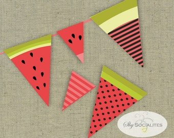 Watermelon Banner | Watermelon Slices | Summer Picnic | Birthday Party | Summer Party | Instant Download Print and Assemble