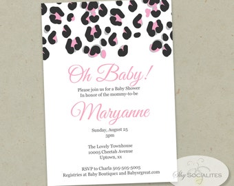 Modern Pink Cheetah Print Invitation   Leopard Print,  Any Occasion   INSTANT DOWNLOAD   Editable Text PDF