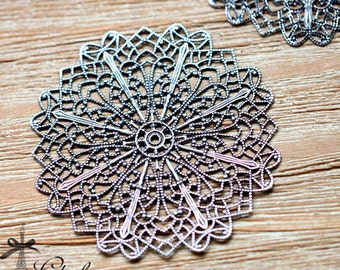 Antiqued Silver  plated RAW brass Filigree  Jewelry Connectors Setting Cab Base Connector Finding  (FILIG-AS-11)