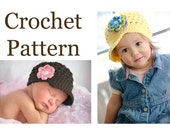 "CROCHET PATTERN, ""The Original Buttercup Beanie"" pattern #101, Baby Crochet Hat Pattern, Crochet Pattern Children, Crochet Pattern Hat, PDF"