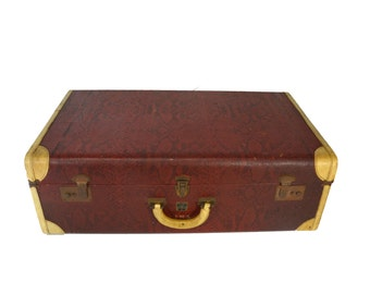 Faux Red Snakeskin Vintage Suitcase