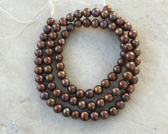 Bronze Pearls, round potato pearls, freshwater pearls, 16 inch strand, 4.5 to 5mm
