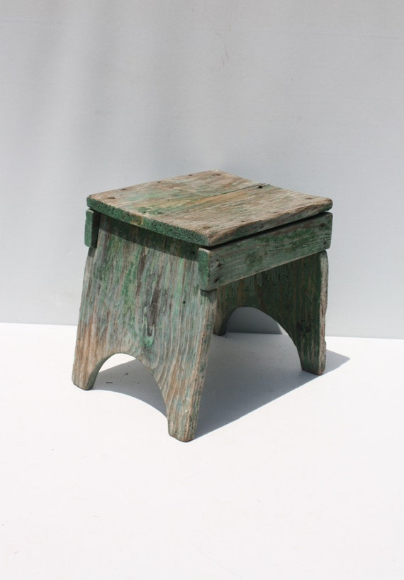 Painted Wooden Stool ~ Vintage wood wooden stool bench step green painted