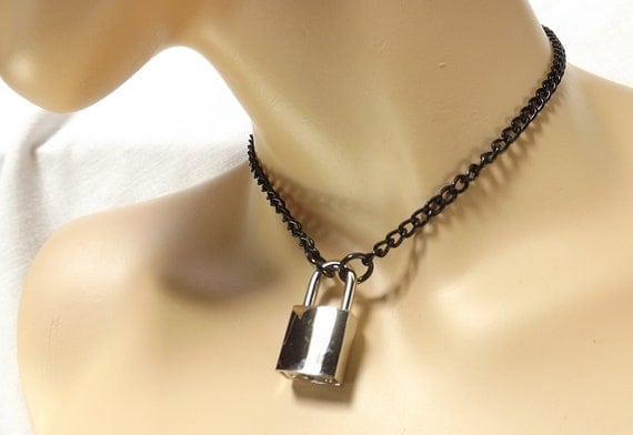 in chain padlock lyst kors metallic pendant jewelry silvertone tone and product normal necklace michael silver