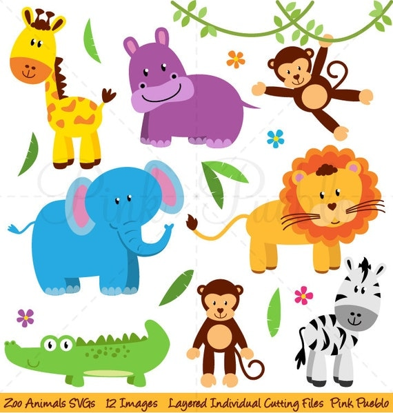 Zoo Animals SVGs Zoo Safari Jungle Animals Cutting Templates