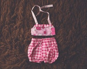Cake Smash Outfit One Year Old Girl Bikini Cake Smash Set Dark Pink Flowers and Gingham