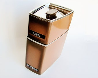 Canisters Coffee Tea  Lincoln Beauty Ware Mid Century Modern Chrome Stacking Space Saving Metal Brown Black Chrome Wedge Shaped