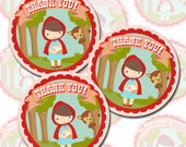 Little Red Riding Hood Party Favor Tags - Thank You Tags - Instant Download - Print Your Own