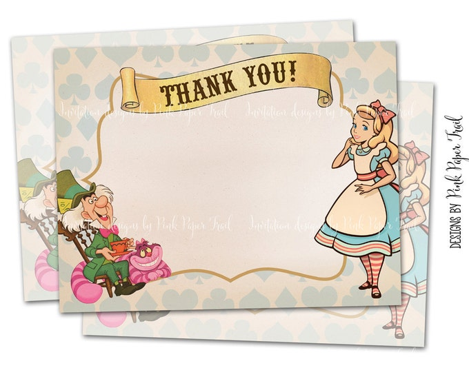 Alice In Wonderland, Mad Tea Party, Alice Thank You Card, Instant Download, Print Your Own