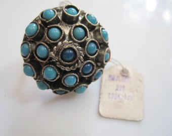 Indian Ring, New Old Stock, Silver Tone Metal and Turquoise Cluster, Statement Ring, Sizes 7 to 9, Ethnic Jewelry, Boho Ring