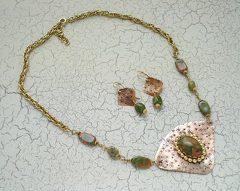 Copper and Unikite Necklace and Earring Set, Free US Shipping