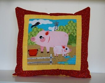 SALE, Barnyard Pillows, Farm, Kids Bedding, Pigs