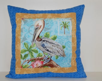 Beach Pillow, Coastal Living, Nautical, Pelican