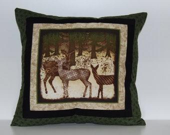 SALE, Mountain View Pillows, Deer, Rustic, Log Cabin Decor