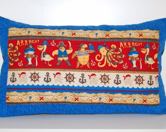 SALE, Pirate Pillow, Boys Room, Decorative Nautical Accent Pillow