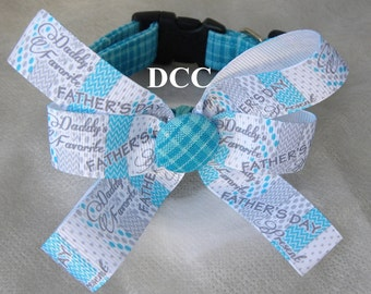 Dog Collar Turquoise Plaid w Ribbon Bow Happy Father's Day Ribbon Bow Adjustable with D Ring Choose Size Collars
