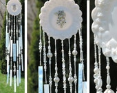 Wind Chime Glass Handcrafted from Milk Glass Vintage Plate Jewelry Stained Glass Crystals Beads Garden Window Decoration Sun Catcher