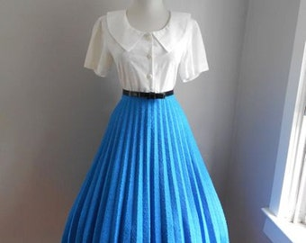 VINTAGE 1960s 1980s Womens BLUE Accordion Style Pleated Full Skirt