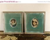 SHOP SALE Vintage Pair of Hand Tinted Color Engraving Cameo Portraits Austrian Minatures