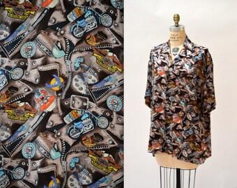 90s Vintage Nicole Miller Silk Shirt with Harley Davidson Motorcycle Biker Shirt Mens Silk Shirt size Large
