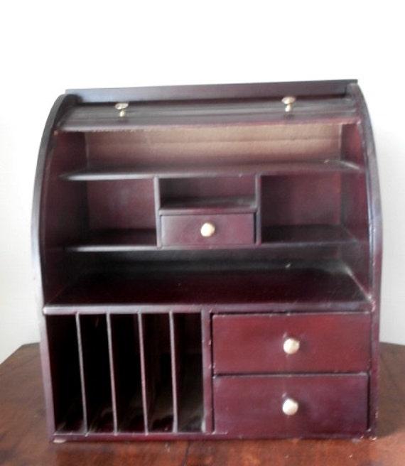 Victorian Style Tambour Roll Top Desktop Organizer