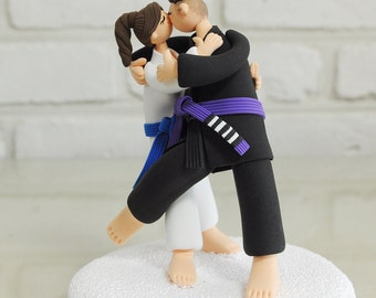 Custom Wedding Cake Topper - Jiu jitsu, Judo sports mania -