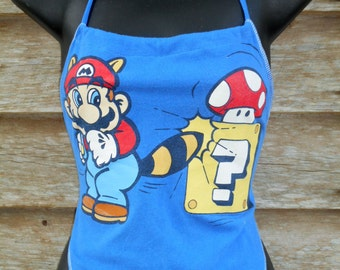 MARIO BROTHERS Blue lined UPcycled T cotton t shirt halter Adj. S - XL see measurements