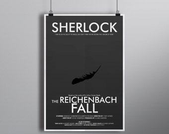 The Reichenbach Fall, Minimalist Alternative Literature Poster // Typography and Black Featther Illustration with Credits
