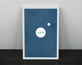 Earth and the Moon // Vintage Inspired, Minimalist Planetary Science Print // White and Blue Textured or Clean Print with Planet Graphic