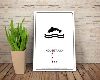 SPOILERS - House Tully // Trout Sigil Pictogram and Liniage Graphic // GOT Inspired Art Print
