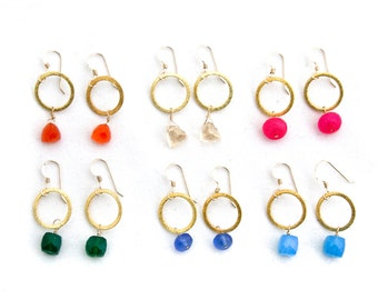 Gold Hoop Gemstone Earrings - Various Gems