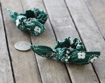 Hunter Green Bandanna Knotted Hair Bows on Hunter Green Bandana Baby Scrunchy Girl Hair Accessory Pony Tail Clips