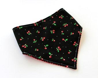 Baby Bibdana Baby Bib Drooling Bib Rockabilly Black with Cherries over Red Gingham Reversible