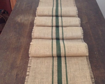 Burlap Grain Sack Table Runner 12 or 14x120 Woodland Green Rustic Table Decor by sweetjanesplan