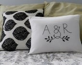 Personalized Initials OR Monogram Pillow Cover. Modern Bedding. Wedding Gift Anniversary. Husband and Wife. Love. Black and White Pillow.