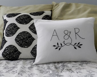 Personalized Initials OR Monogram Pillow Cover. Wedding Gift Personalized. Wedding Gift Anniversary. Husband and Wife. Love Pillow. Intials