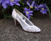Lace Wedding Shoes, Floral Bridal Shoes in White Ivory Cream Womens Shoes Size 6 1/2 6.5 AAAA Narrow US by Designer Stuart Weitzman