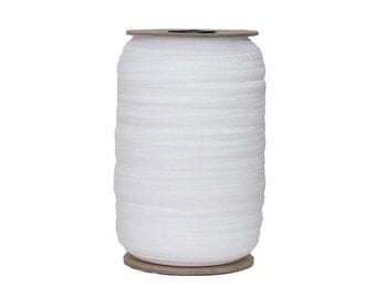 "White - 100 Yard Roll - Fold Over Elastic - 5/8"" Wide Solid Wholesale FOE"
