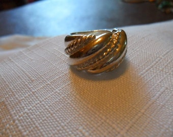 Vintage Bold Sterling Silver Ring Size 6