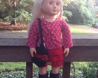 18 Inch Doll Clothes Red Shirt and Skirt Outfit with Purse