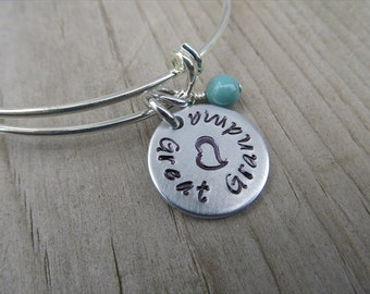 """Great Grandma Bracelet- Gift for Great Grandma- Hand-Stamped Bracelet- """"Great Grandma"""", stamped heart, and an accent bead of choice"""