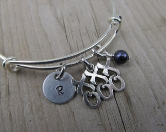 Hugs and Kisses Bangle Bracelet- Adjustable Bangle Bracelet with Hand-Stamped Initial, XOXOXO Charm, and accent bead