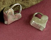 Artisan Heart Charms - Chunky Solid Sterling Silver 2 Hand-crafted Hearts - AC166