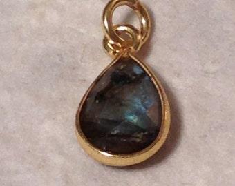 Vermeil Labradorite Teardrop Pendant - Gray Green Blue Gemstone Charm  - Earring Dangles 10mm x 7mm GL202