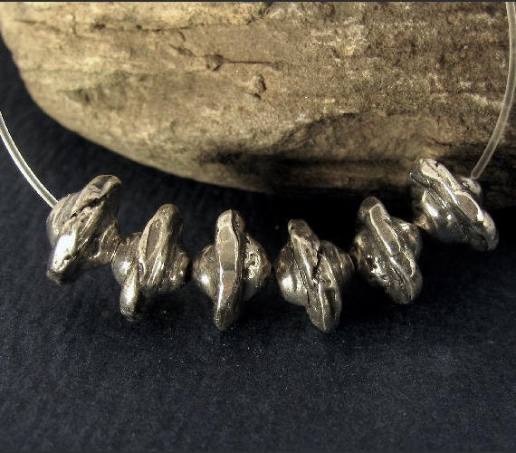 2 Rustic and Organic -  Artisan Sterling Silver Bicone Spacer Beads Handcrafted  8mm x 5.5mm AC13