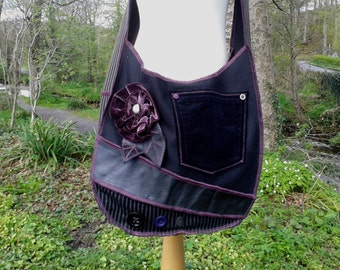 Happy Scrappy tote hobo bag - made from recycled fabrics by SpiralGypsy