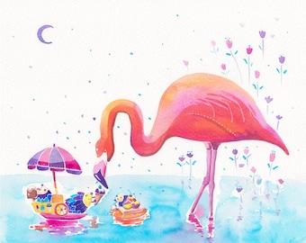 Watercolor Flamingo Print - Hedgehog Ice-cream Peddler - 8x10, little blue moon, Elegant Flamingo, Pink Flamingo