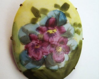 Vintage Hand painted porcelain violet brooch