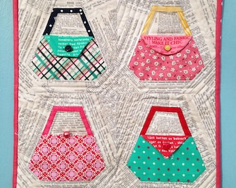 PURSE paper-piecing quilting pattern